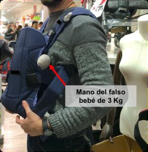 mochila portabebes maniquí