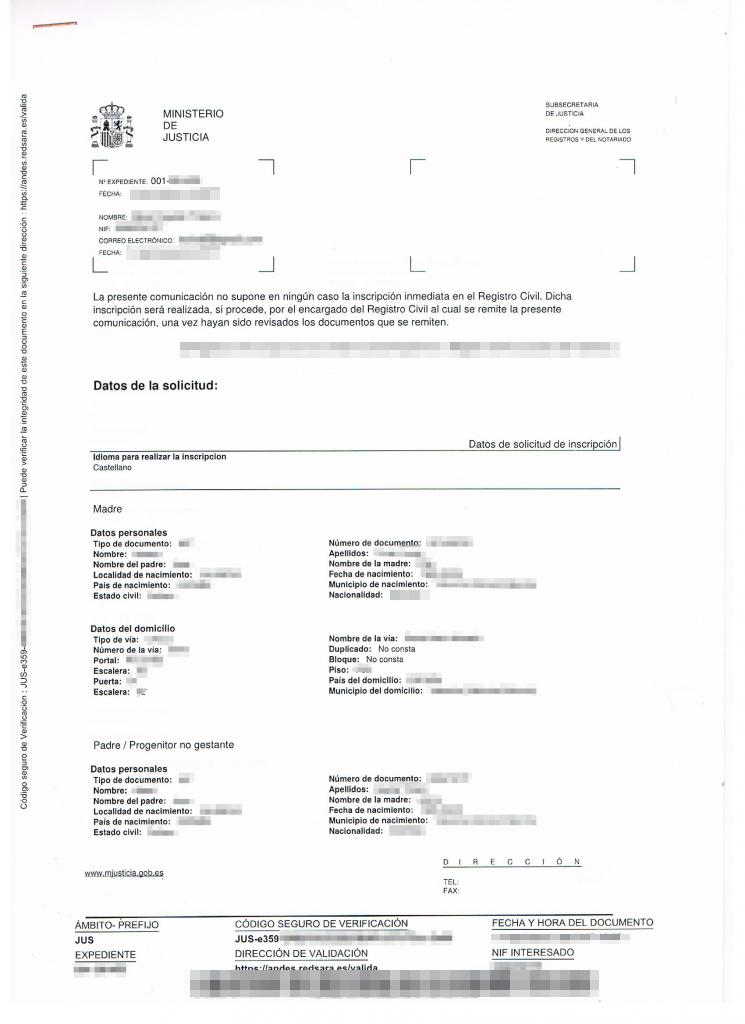 Resguardo tras solicitar certificado de nacimiento (hoja amarilla) 2