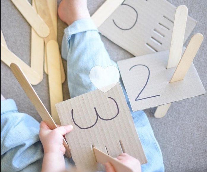 Actividades para niños-Numeros bastones en carton